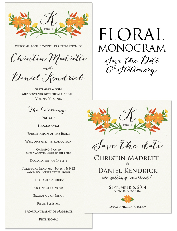 Floral Monogram Save the Date and Wedding Day Stationery