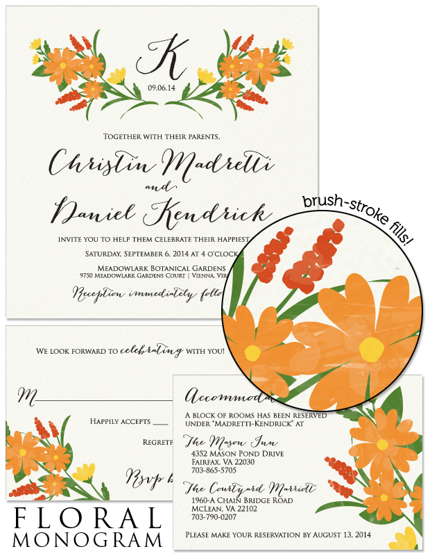Floral Monogram Wedding Invitation, Reply and Accessory Card