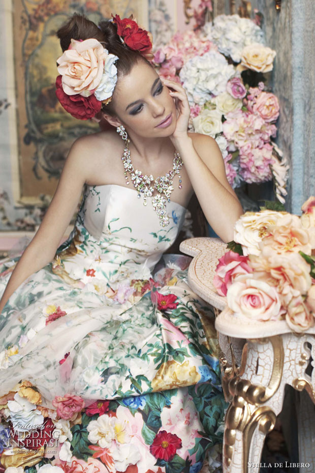 Girl in a very ornate floral wedding gown