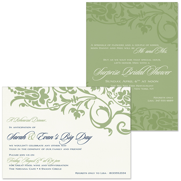 Floral Decor Rehearsal Dinner and Bridal Shower Invitations