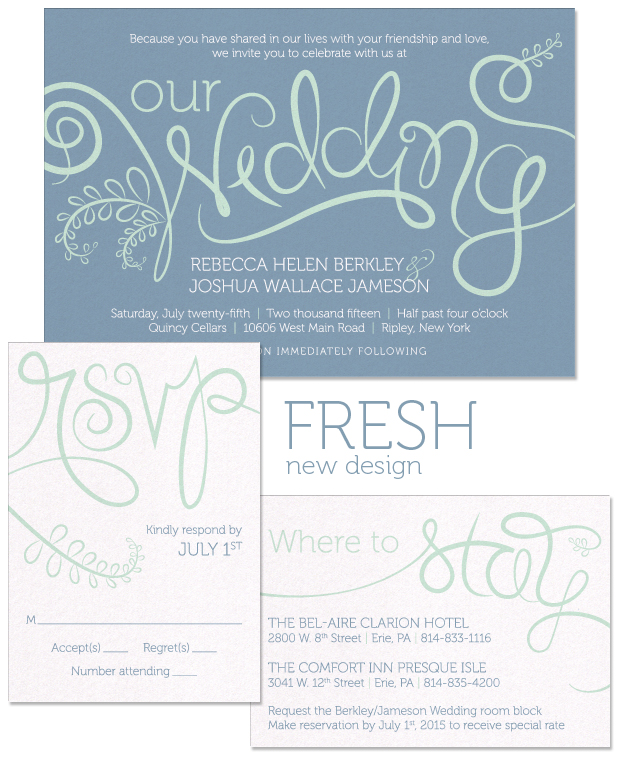 Fresh Wedding Invitation, RSVP and Accessory Card.