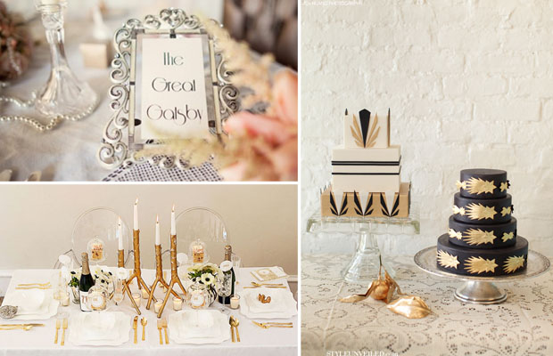 the great gatsby art deco inspired wedding cakes and table decor