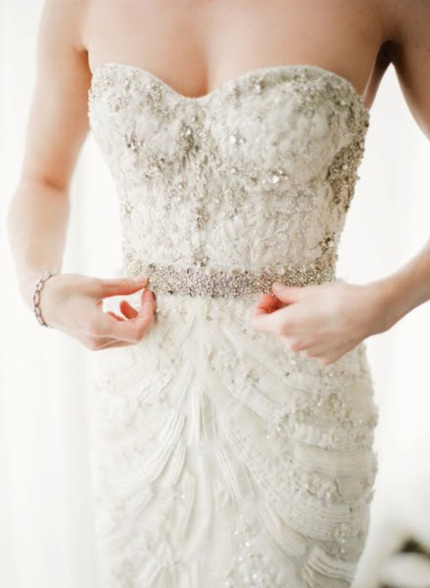strapless beaded wedding dress with beaded details