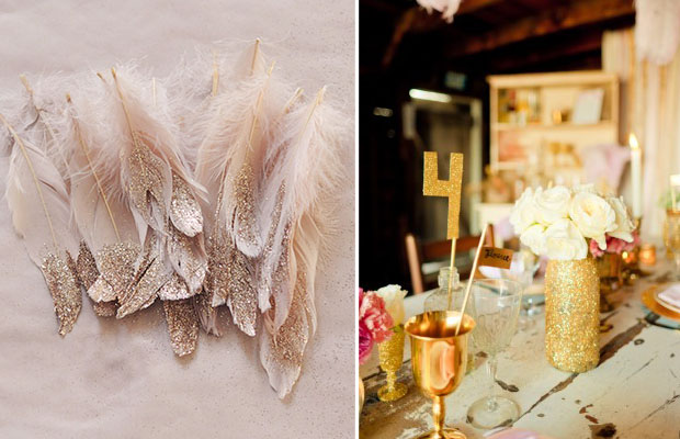 glittery feathers and decor