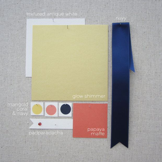 gold, coral, and navy wedding colors