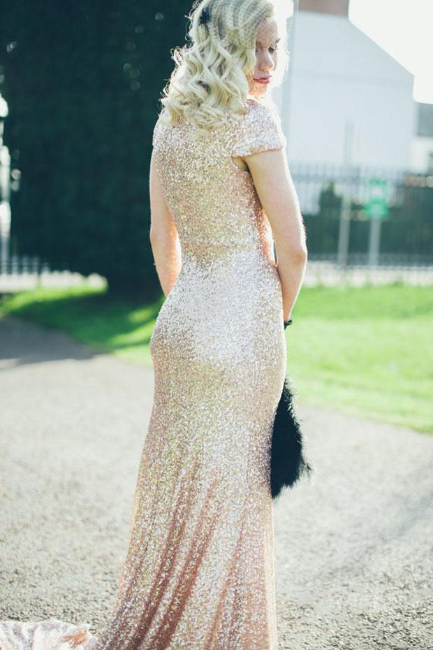 gold glitter cap sleeve wedding gown