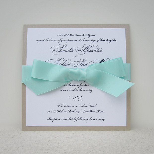 grace wedding invitation with bow: latte and seafoam for an elegant, beachy look