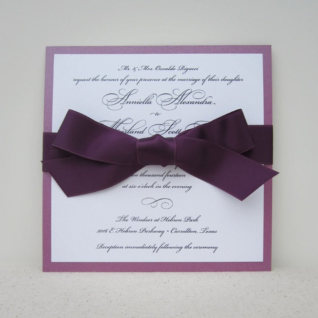 grace wedding invitation with bow: plum for a flirty, classic look