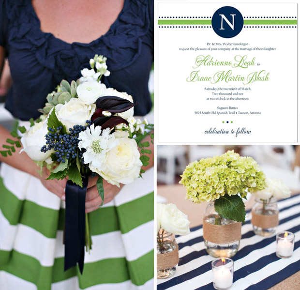 A Preppy Green & Navy Wedding; Preppy Monogram Wedding Invitation