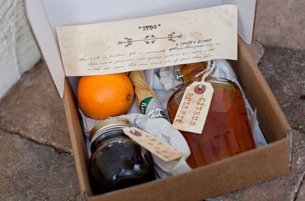 groomsmen gift: boxed drinks and recipes