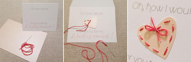 how to: sewn heart bridesmaid card