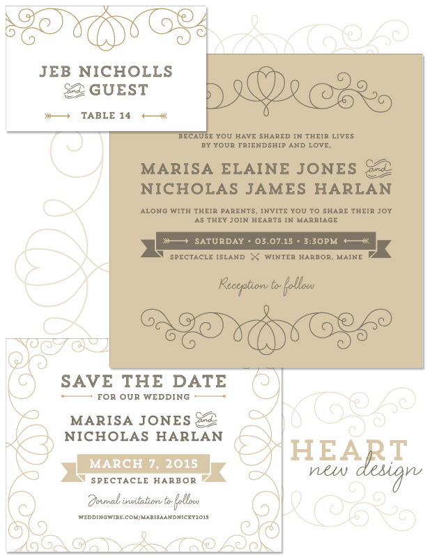 Heart Wedding Invitation, Save the Date and Place Card