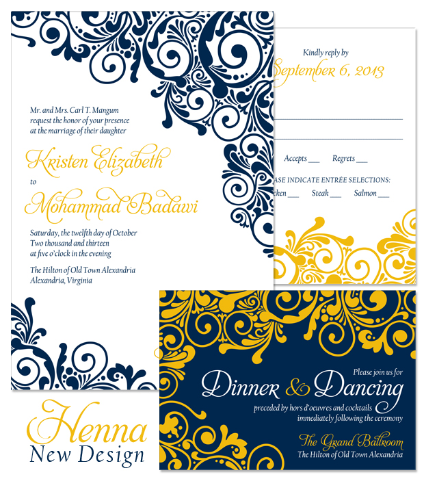 New Design: Henna Wedding Invitation