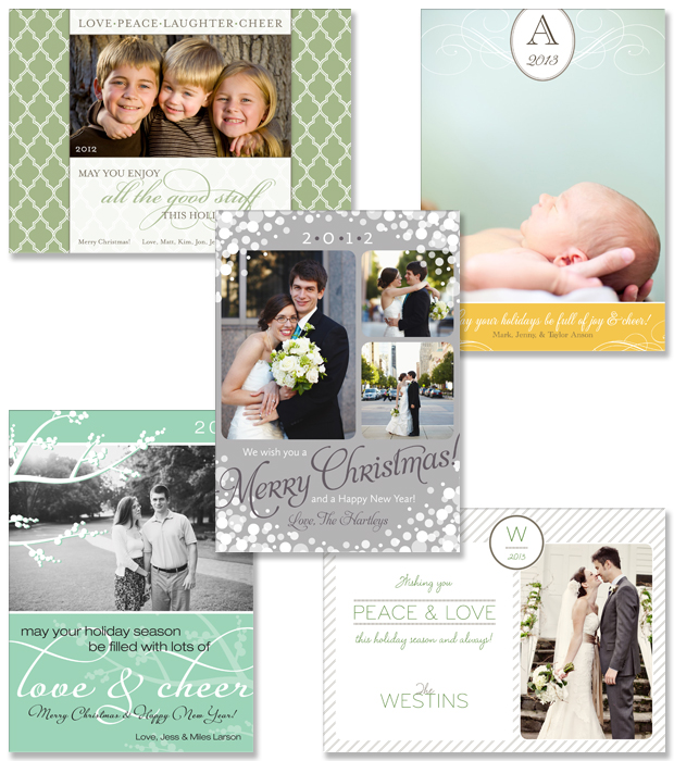 Uptown Chic, Elegance, Confetti, Winter Berry and Pinstripe holiday cards