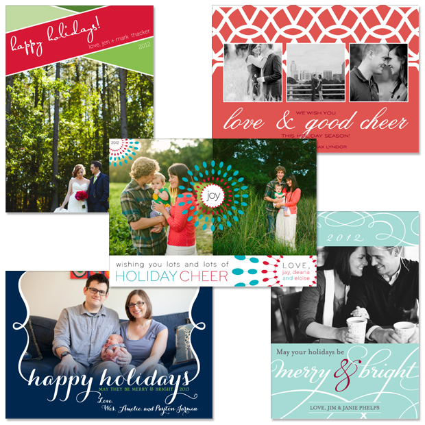 New Holiday Card Designs: Color Block, Lace, Sunburst, Embrace, and Bella