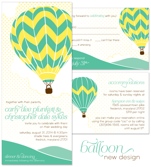 Balloon Wedding Invitation, RSVP and Accessory Card