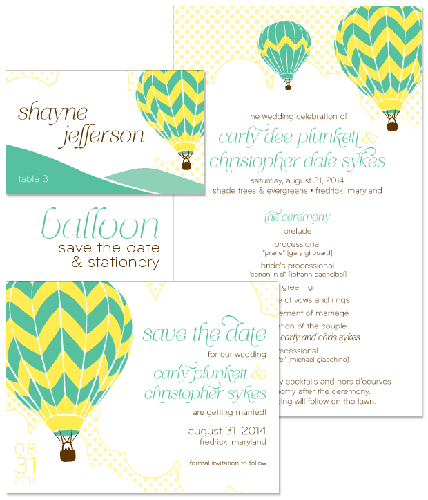 Hot Air Balloon Save the Date and Wedding Day Stationery