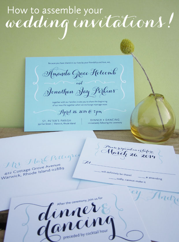 assembling wedding invitations to mail to guests