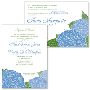 Hydrangea Rehearsal Dinner and Bridal Shower Invitations