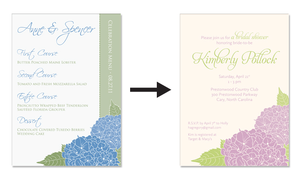 Hydrangea menu and bridal shower invitation