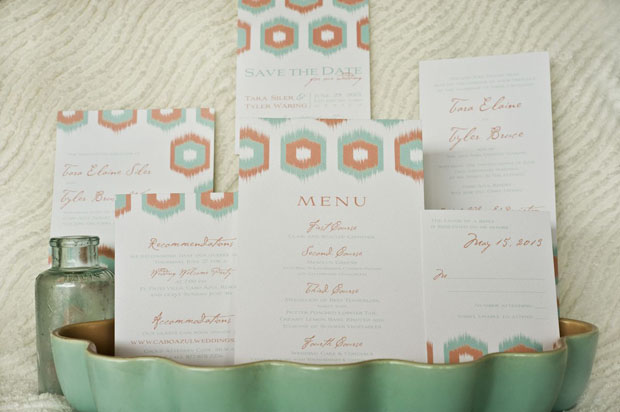 ikat wedding invitations + stationery in coral and seafoam