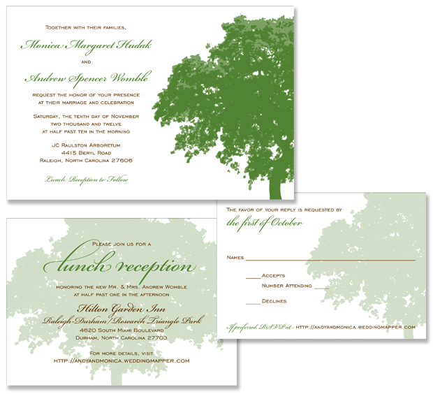Monica and Andy's oak tree wedding invitations