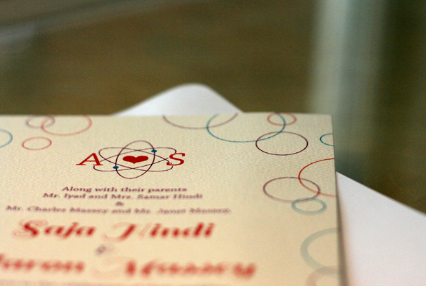 Saja and Aaron's custom invitation in printed form.