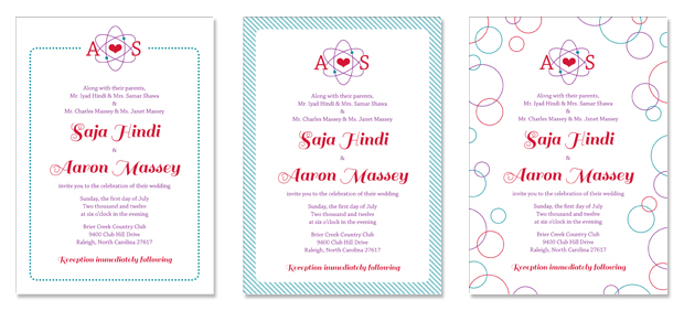 Saja and Aaron's invitation with variant borders.