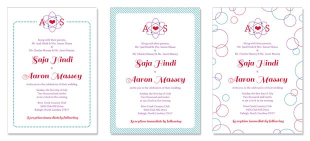 Saja and Aaron's invitation with variant borders.
