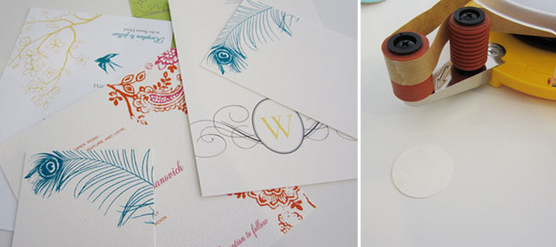 photo of invites and gluing circles for chandelier