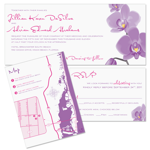 Jillian and Adrian's invitation, reply and accessory card