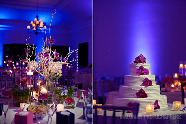 Reception decor and wedding cake