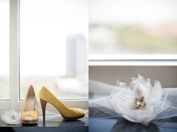 Kristin's yellow shoes and handmade hairpin
