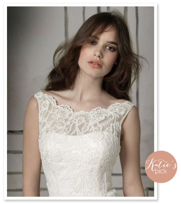 boatneck style lace illusion neckline wedding dress