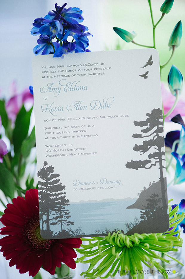 real stationery photograph of lakeside wedding invitation