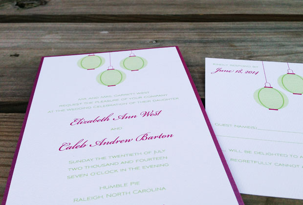lantern wedding invitation by the green kangaroo