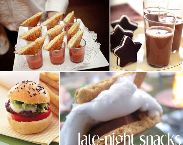 late night snacks for your wedding reception