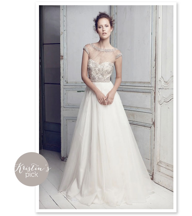 wedding dress with pearls and lattice pattern neckline