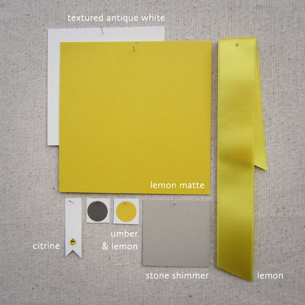 yellow + gray, lemon, stone, ribbon, citrine crystal, shimmer, wedding invitations, ideas