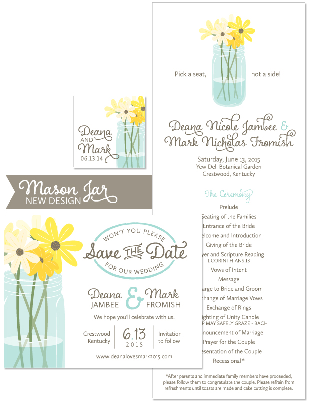Mason Jar Save the Date and Wedding Day Stationery