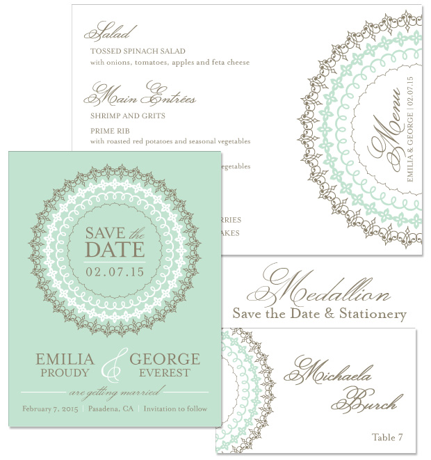 Medallion Save the Date, Menu and Place Card