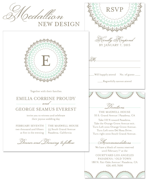 Medallion Wedding Invitation, Reply and Accessory
