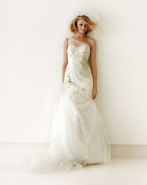 wedding gowns under $1000: budget-friendly one-shoulder metallic dress