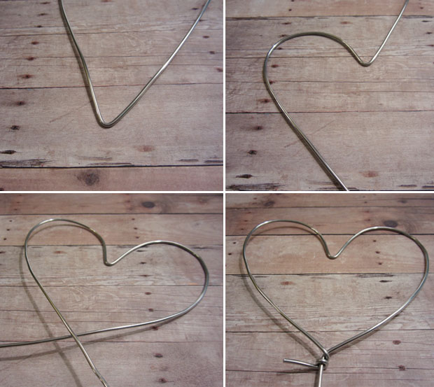 wrapped metal heart shaped string art wedding cake topper how-to diy project