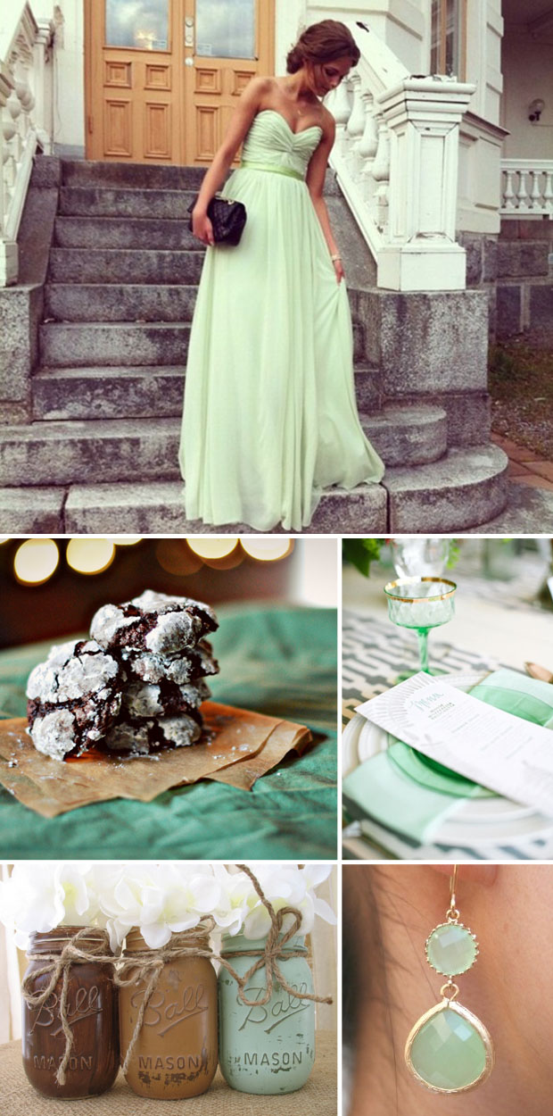mint chocolate wedding color inspiration board