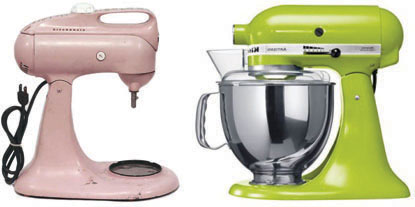 vintage kitchen aid mixers pink and green wedding registry
