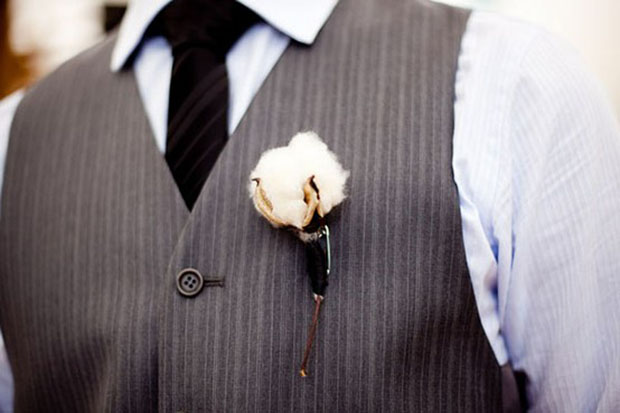 winter wedding: modern cotton boutonniere