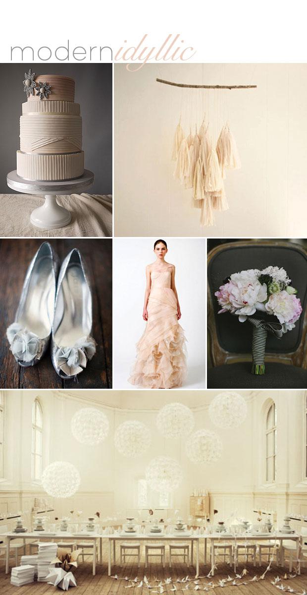 modern idyllic wedding day inspiration board