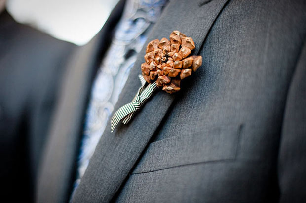 winter wedding: modern pinecone boutonniere