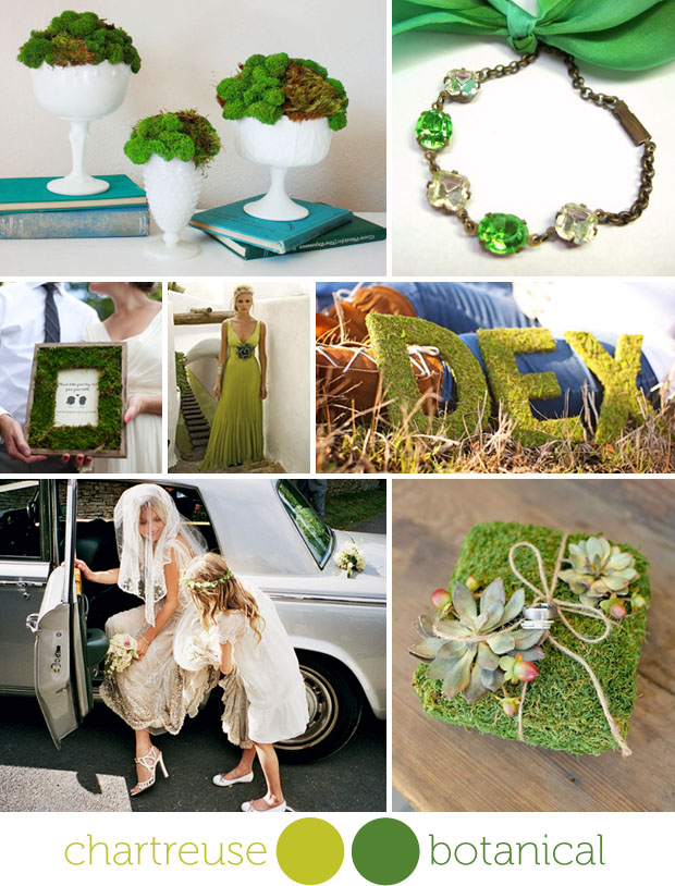moss color wedding day inspiration board